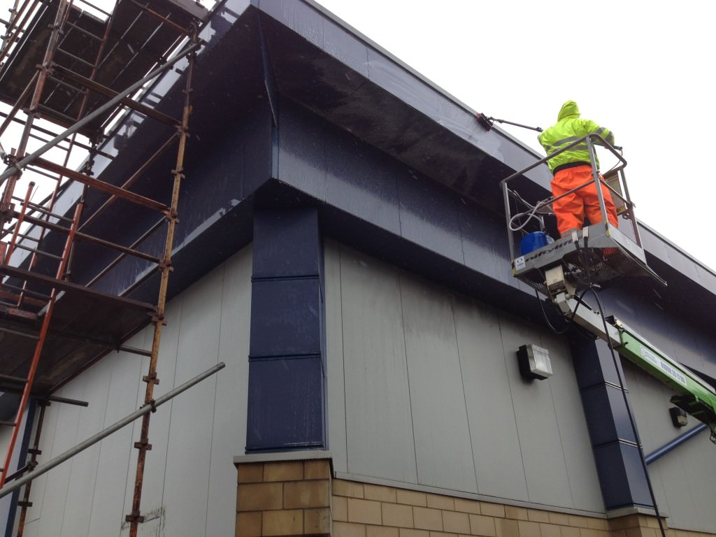image of cladding cleaning liverpool taking place in merseyside and lancashire www.cleaning-service.uk.com