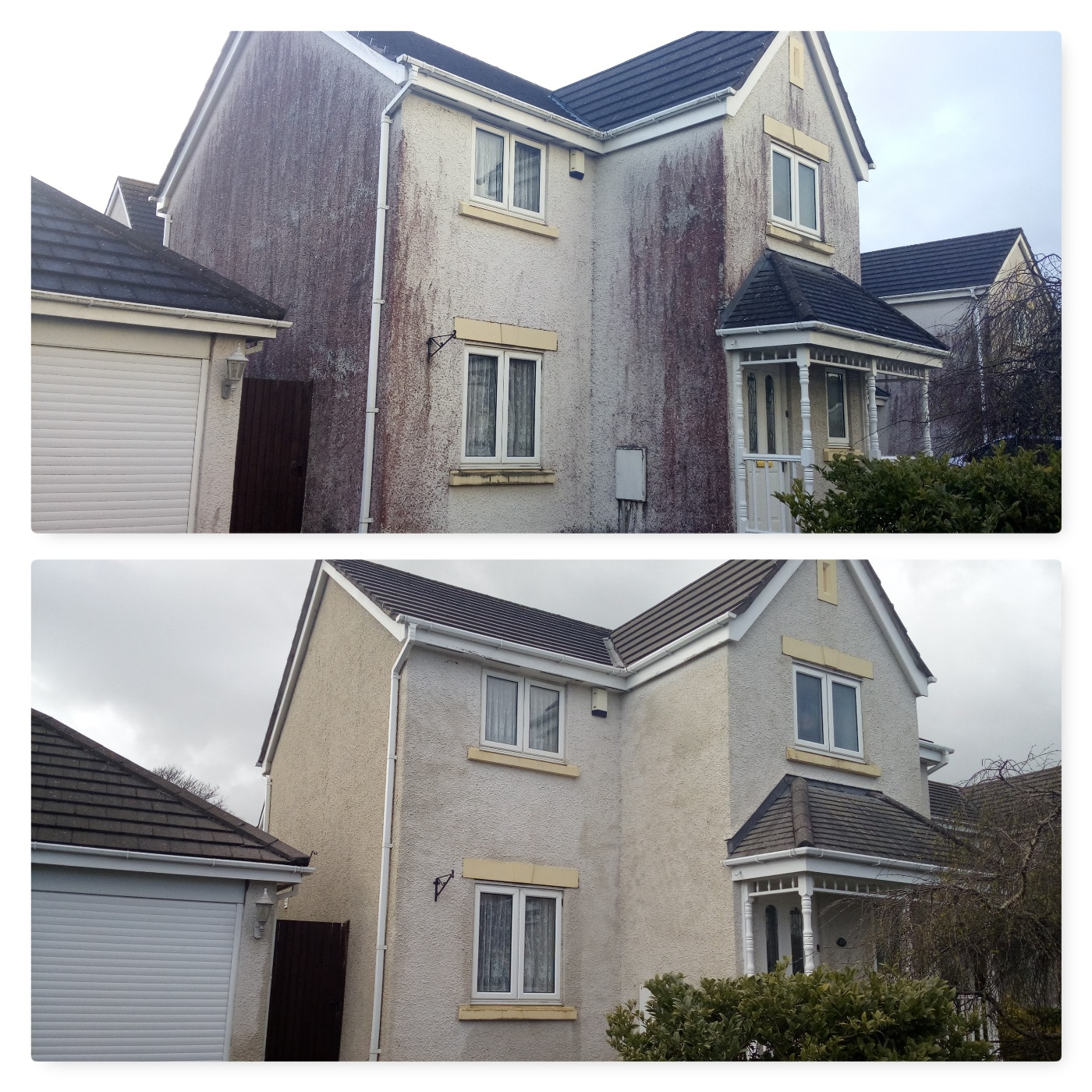 image of before and after cleaning of red stains on render www.cleaning-service.uk.com lake district